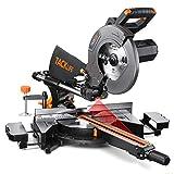 TACKLIFE 2000W Troncatrice, 255 mm Troncatrice Scorrevole, Doppia Velocità (4500 giri/min e 3200 giri/min), 3 Lame, Taglio Smussato (0° -45°), Laser Rosso, Tavola di Prolunga